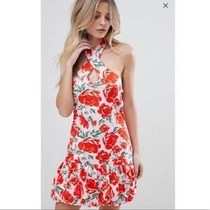 ASOS NWT Pink Floral Halter Dress 6